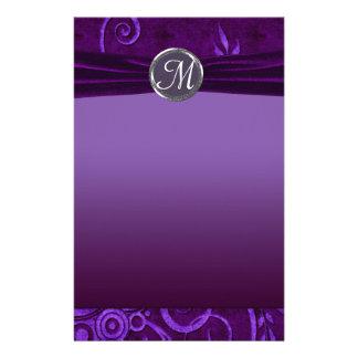 Plum & Purple Velvet Wedding Swirl Customized Stationery