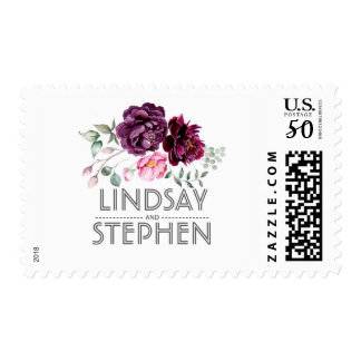 Plum Purple Watercolor Floral Bouquet Wedding Postage
