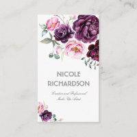 Plum Purple Watercolor Flowers Bouquet Elegant Business Card