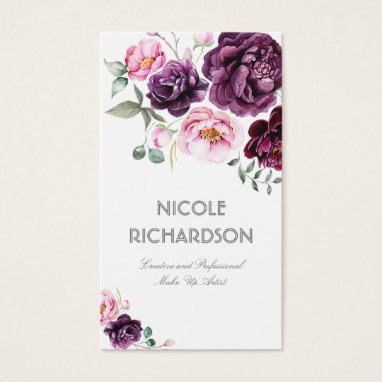 Plum purple watercolor flowers bouquet elegant business card plum purple watercolor flowers bouquet elegant business card colourmoves Image collections