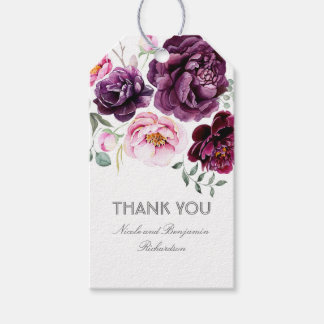 Plum Purple Watercolor Flowers Elegant Boho Gift Tags