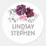 Plum Purple Watercolor Flowers Elegant Wedding Classic Round Sticker at Zazzle