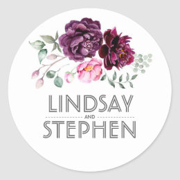 Plum Purple Watercolor Flowers Elegant Wedding Classic Round Sticker