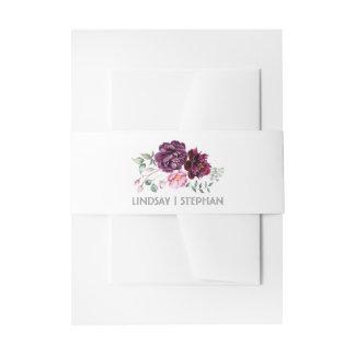 Plum Purple Watercolor Flowers Elegant Wedding Invitation Belly Band