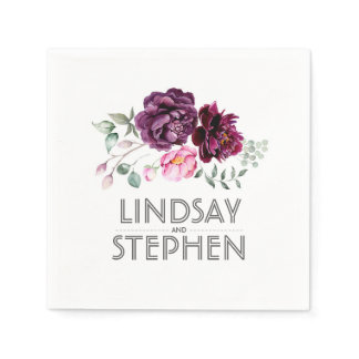 Plum Purple Watercolor Flowers Wedding Paper Napkin