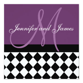 Plum Purple Wedding Invitation Monogram Harlequin