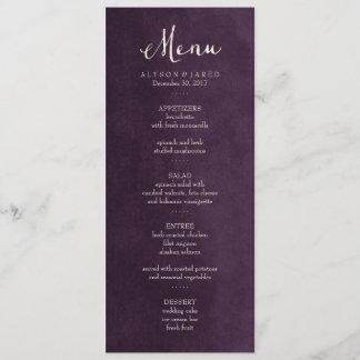 Plum Purple Wedding Menu Card