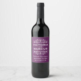 Plum Purple Wedding Wine Bottle Favor Wine Label