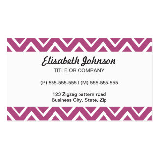 Plum purple whimsical zigzag chevron pattern business cards