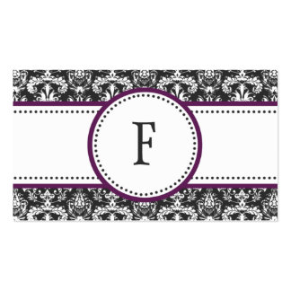 Plum Purple & White Classic Damask Mommy Calling / Business Cards