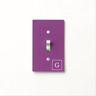 Plum Purple White Framed Initial Monogram Light Switch Cover