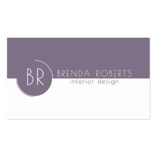 Plum-Purple & White Modern Geometric Design Business Card