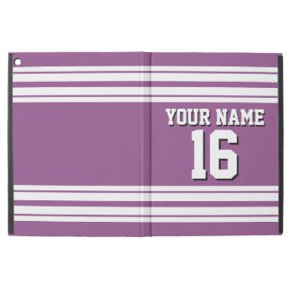 "Plum Purple White Team Jersey Custom Number Name iPad Pro 12.9"" Case"