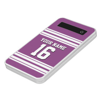 Plum Purple White Team Jersey Custom Number Name Power Bank