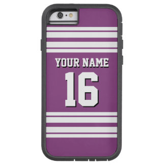 Plum Purple White Team Jersey Custom Number Name Tough Xtreme iPhone 6 Case