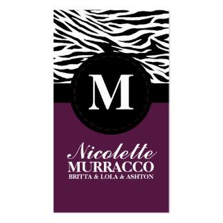 Plum Purple Wild Zebra Print Mommy Calling Card / Business Card