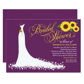Plum Purple with Yellow Sunflowers Bridal Shower Invitation