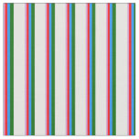 [ Thumbnail: Plum, Red, Blue, Dark Green & White Colored Lines Fabric ]