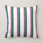 [ Thumbnail: Plum, Red, Blue, Dark Green & White Colored Lines Throw Pillow ]