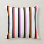 [ Thumbnail: Plum, Red, Brown, Black, and White Pattern Pillow ]