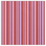 [ Thumbnail: Plum & Red Colored Lined Pattern Fabric ]