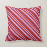 [ Thumbnail: Plum & Red Colored Lined Pattern Throw Pillow ]