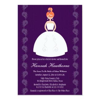 "Plum Redhead Bridal Shower Invitations 5"" X 7"" Invitation Card"