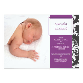 Plum Ribbon and Damask Birth Announcement