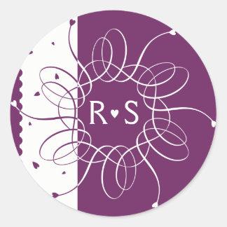Plum Romantic Rosette Classic Round Sticker