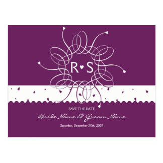 Plum Romantic Rosette Save The Date Postcard