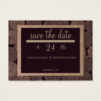 Plum & Rose Gold Save The Date Business Card