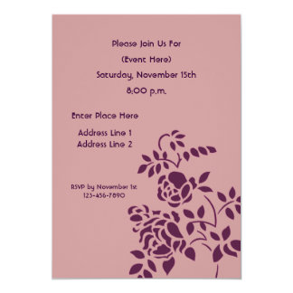 Plum Rosebud Stencil Floral Art Invitation