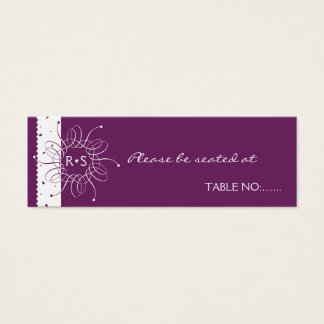 Plum Rosette Wedding Party Table Place Card