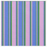[ Thumbnail: Plum, Royal Blue, and Green Lined/Striped Pattern Fabric ]