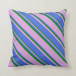 [ Thumbnail: Plum, Royal Blue, and Green Lined/Striped Pattern Throw Pillow ]