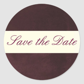 Plum Save the Date Sticker/Seal Classic Round Sticker