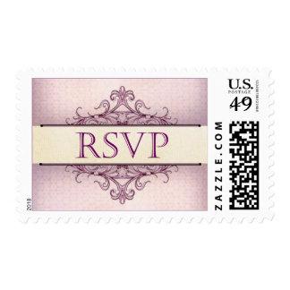 Plum Scroll RSVP Stamp
