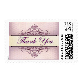 Plum Scroll Thank You Stamp