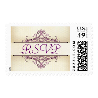 Plum Scroll with Champagne RSVP Stamp