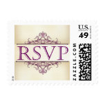 Plum Scroll with Champagne RSVP Stamp (Small)