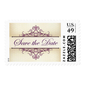 Plum Scroll with Champagne Save the Date Stamp