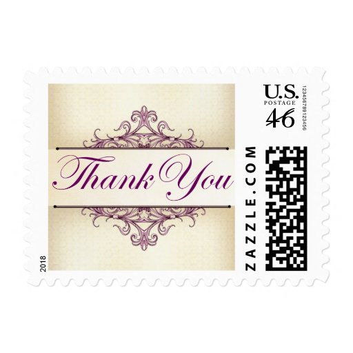 Plum Scroll with Champagne Thank You Stamp (Small)