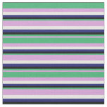 [ Thumbnail: Plum, Sea Green, Black, Midnight Blue, and White Fabric ]