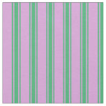 [ Thumbnail: Plum & Sea Green Stripes Fabric ]