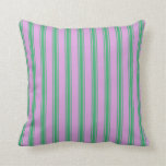 [ Thumbnail: Plum & Sea Green Stripes Throw Pillow ]