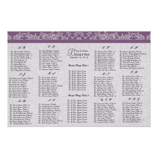 Plum Seating Chart Table Number-Alphabetical Order