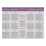 Plum Seating Chart Table Number-Alphabetical Order Print