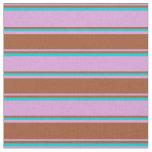 [ Thumbnail: Plum, Sienna & Dark Turquoise Stripes Fabric ]