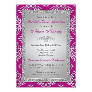 Plum, Silver Glitter Damask Bridal Shower Invite