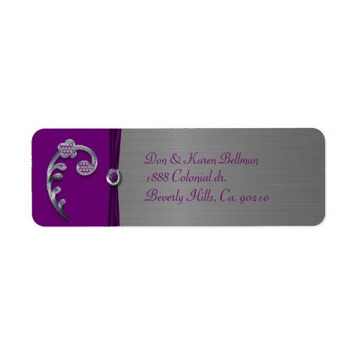 Plum & Silver Metallic Flourish Label